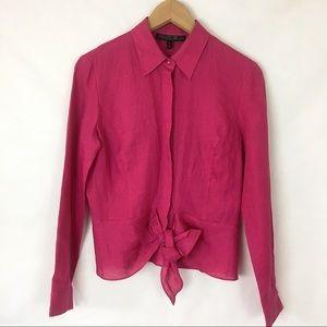 Lafayette NY 148 magenta linen tie-up blouse